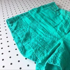 LOFT Shorts - LOFT Linen teal embroidered size 4 women's shorts